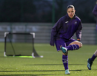 Stefania Vatafu (10) of Anderlecht pictured during the warm up before a female soccer game between Oud Heverlee Leuven and RSC Anderlecht on the 12 th matchday of the 2020 - 2021 season of Belgian Womens Super League , sunday 31 st of January 2021  in Heverlee , Belgium . PHOTO SPORTPIX.BE | SPP | SEVIL OKTEM