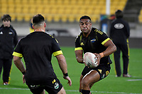 Julian Savea of the Hurricanes warms up before the Super Rugby - Hurricanes v Rebels at Sky Stadium, Wellington, New Zealand on Friday 21 May 2021.<br /> Photo by Masanori Udagawa. <br /> www.photowellington.photoshelter.com