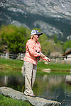 Laura Diko learns to fly fish during the Casting for Recovery fishing clinic at Bently Ranch in Gardnerville, Nev. May 4, 2018.<br /> Photo by Candice Vivien/Nevada Momentum