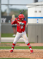 Doral Academy Firebirds Jake Santos (15) during the IMG National Classic on March 29, 2021 at IMG Academy in Bradenton, Florida.  (Mike Janes/Four Seam Images)
