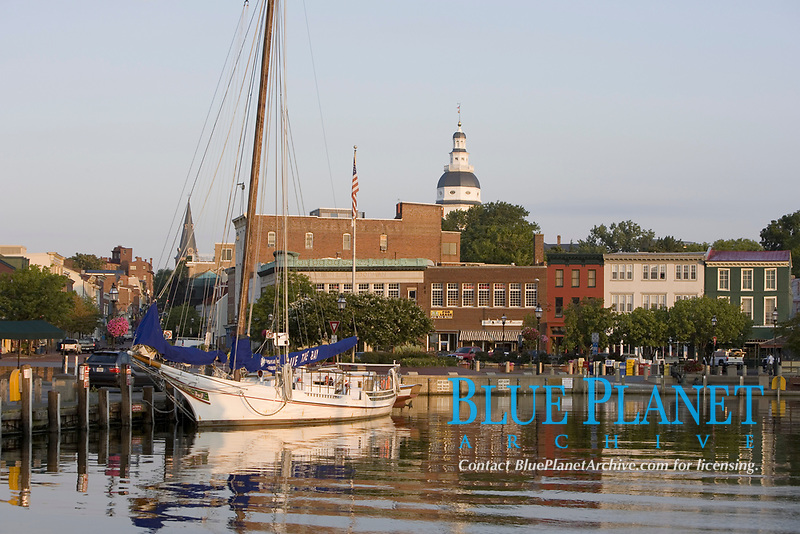 """Annapolis MD, city dock, """"Ego Alley"""" historic oyster boat on display"""
