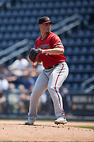 Rochester Red Wings starting pitcher Tanner Rainey (38) in action against the Scranton/Wilkes-Barre RailRiders at PNC Field on July 25, 2021 in Moosic, Pennsylvania. (Brian Westerholt/Four Seam Images)