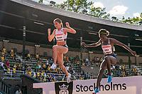 4th July 2021; Stockholm Olympic Stadium, Stockholm, Sweden; Diamond League Grand Prix Athletics, Bauhaus Gala; Gesa Krause and Purity Kirui jump in the 3000m steeple chase