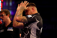 9th October 2021; Morningside Arena, Leicester, England; PDC BoyleSports Darts World Grand Prix finals ; A dejected Gerwen Price