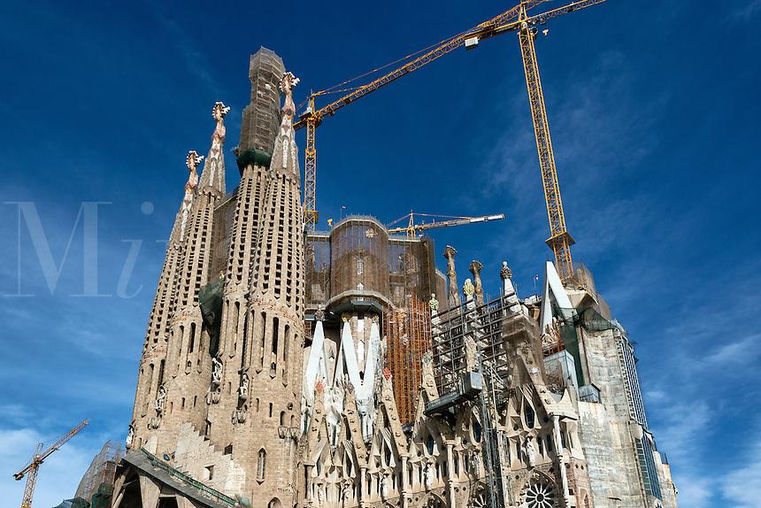 Exterior construction of Basilica Sagrada Família, Barcelona, Spain