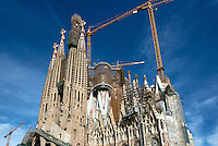 Exterior construction of Basilica Sagrada Família, Barcelona, Spain