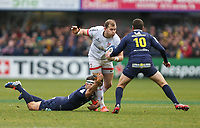 11 January 2020; Ulster's Will Addison is tackled by Morgan Parra during the Heineken Champions Cup Pool 3 Round 5 match between ASM Clermont Auvergne and Ulster at Stade Marcel-Michelin in Clermont-Ferrand, France. Photo by John Dickson/DICKSONDIGITAL