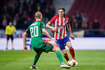 Filipe Luis (R) of Atletico de Madrid competes for the ball with Vladislav Ignatiev of FC Lokomotiv Moscow during the UEFA Europa League 2017-18 Round of 16 (1st leg) match between Atletico de Madrid and FC Lokomotiv Moscow at Wanda Metropolitano  on March 08 2018 in Madrid, Spain. Photo by Diego Souto / Power Sport Images