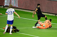 LOS ANGELES, CA - SEPTEMBER 02: GK Daniel Vega #17 of the San Jose Earthquakes defends against Diego Rossi #9 of LAFC during a game between San Jose Earthquakes and Los Angeles FC at Banc of California stadium on September 02, 2020 in Los Angeles, California.
