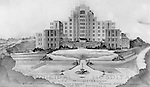 Pittsburgh PA:  Architect's rendering of the Municipal Hospital in the Oakland section of Pittsburgh.  The main structure of Salk Hall is the former city-owned Pittsburgh Municipal Hospital for Contagious Diseases constructed in 1941 on land the university had given to the city.