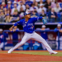 26 March 2018: Toronto Blue Jays pitcher Marcus Stroman on the mound during a pre-season game against the St. Louis Cardinals at Olympic Stadium in Montreal, Quebec, Canada. The Cardinals defeated the Blue Jays 5-3 in the first of two MLB exhibition games in the former home of the Montreal Expos. Mandatory Credit: Ed Wolfstein Photo *** RAW (NEF) Image File Available ***