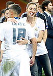 Real Madrid's Sergio Ramos' wife, the Spanish actress Pilar Rubio celebrates the victory in the UEFA Champions League 2015/2016 Final match.May 28,2016. (ALTERPHOTOS/Acero)