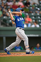 First baseman Nick Pratto (30) of the Lexington Legends follows through on a swing during a game against the Greenville Drive on Sunday, September 2, 2018, at Fluor Field at the West End in Greenville, South Carolina. Greenville won, 7-4. (Tom Priddy/Four Seam Images)