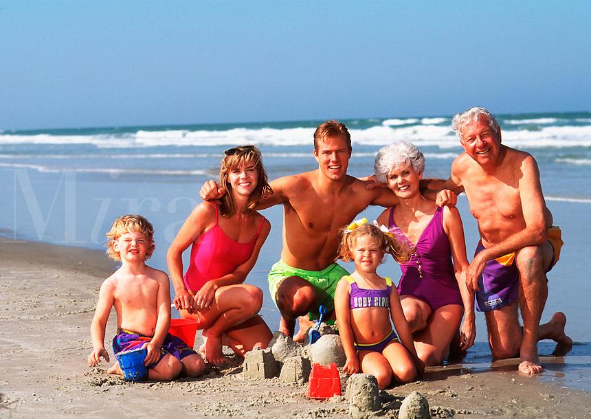 Multigenerational family on beach