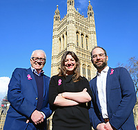 Picture by SWpix.com - 07/03/2018 - Cycling - 2018 OVO Energy Women's Tour Launch - Westminster, London, England - Mick Bennett (SweetSpot), Claire Pulford (Breast Cancer Care) and Chris Houghton (OVO Energy) pictured at College Green outside the Houses of Parliament to launch the 2018 OVO Energy Women's Tour.