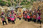 Members of the Dogon Tribe in dance costumes, including headdresses, Mopti Region, Mali.