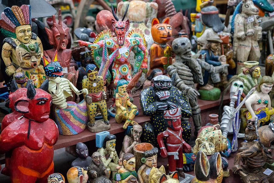 Antigua, Guatemala.  Mythical Maya Figures of Wood and Ceramics, Nim Po't Handicrafts Outlet.
