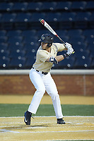 Michael Ludowig (22) of the Wake Forest Demon Deacons at bat against the Liberty Flames at David F. Couch Ballpark on April 25, 2018 in  Winston-Salem, North Carolina.  The Demon Deacons defeated the Flames 8-7.  (Brian Westerholt/Four Seam Images)