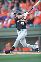South Carolina Gamecocks catcher Grayson Greiner #21 swings at a pitch during a game against the  Clemson Tigers at Fluor Field on March 1, 2014 in Greenville, South Carolina. The Gamecocks defeated the Tigers 10-2. (Tony Farlow/Four Seam Images)