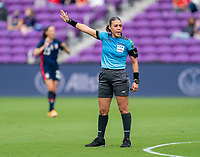 ORLANDO, FL - FEBRUARY 21: Referee Melissa Borjas makes a call during a game between Brazil and USWNT at Exploria Stadium on February 21, 2021 in Orlando, Florida.