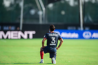 LAKE BUENA VISTA, FL - JULY 14: Jonathan Bornstein #3 of the Chicago Fire kneeling before the game during a game between Seattle Sounders FC and Chicago Fire at Wide World of Sports on July 14, 2020 in Lake Buena Vista, Florida.