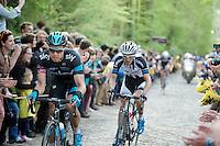 Edvald Boasson Hagen (NOR/SKY) up the Taaienberg with Dries Devenyns (BEL/Giant-Shimano) holding on to his wheel<br /> <br /> Ronde van Vlaanderen 2014