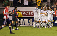 The LA Galaxy celebrate the winning goal of David Beckham with an assist from Omar Gonzalez. The LA Galaxy defeated Chivas USA 1-0 to win the final edition of the 2009 SuperClásico at Home Depot Center stadium in Carson, California on Saturday, August 29, 2009...