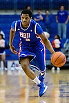 Houston Baptist Huskies guard Tyler Russell (3) in action during the game between the Houston Baptist Huskies and the Texas-Arlington Mavericks at the College Park Center arena in Arlington, Texas. UTA defeats Houston Baptist 81 to 47...