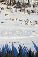Aerial of  Mitch Seavey arriving at the Nikolai checkpoint on Tuesday while the first teams rest