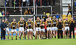 The teams stood for a minutes silence to mark the untimely passing of Rugby star Anthony Foley of Killaloe before the senior hurling county final at Cusack park. Photograph by John Kelly.