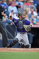 Louisville Bats catcher Julio Morillo (6) on defense against the Durham Bulls at Durham Bulls Athletic Park on August 9, 2015 in Durham, North Carolina.  The Bulls defeated the Bats 9-0.  (Brian Westerholt/Four Seam Images)