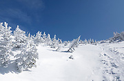Ammonoosuc Ravine Trail in Sargent's Purchase in the New Hampshire White Mountains during the winter months. Opened in the fall of 1915 by the A.M.C, this trail travels from the Base Station Road, through Ammonoosuc Ravine, terminating at Crawford Path, next to Lakes of the Clouds Hut.