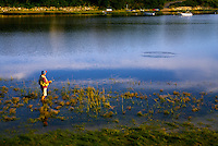 Man fishing, Mill Pond, Orleans, Cape Cod, MA.<br />