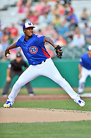 Tennessee Smokies starting pitcher Oscar De La Cruz (37) delivers a pitch during a game against the Mobile BayBears at Smokies Stadium on June 2, 2018 in Kodak, Tennessee. The BayBears defeated the Smokies 1-0. (Tony Farlow/Four Seam Images)