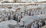 Terracotta Army buried with the Emperor of Qin in 209-210 BC in Xian, China.
