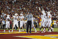 LOS ANGELES, CA-OCTOBER 29,2011- Stanford defeated USC 56-48.  Ryan Hewitt (85) celebrates a touchdown during play against USC at the L.A. Coliseum in Los Angeles, CA.