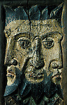 Triple-headed King Sancreed Church, Cornwall. England. Rood screen carving. Celtic Britain published by Orion