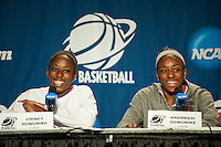 FRESNO, CA--Sisters Chiney Ogwumike and Nneka Ogwumike have a laugh while speaking with the media during a practice day in preparation to take on Duke at the Save Mart Center for the West Regionals Championships of the 2012 NCAA Championships.