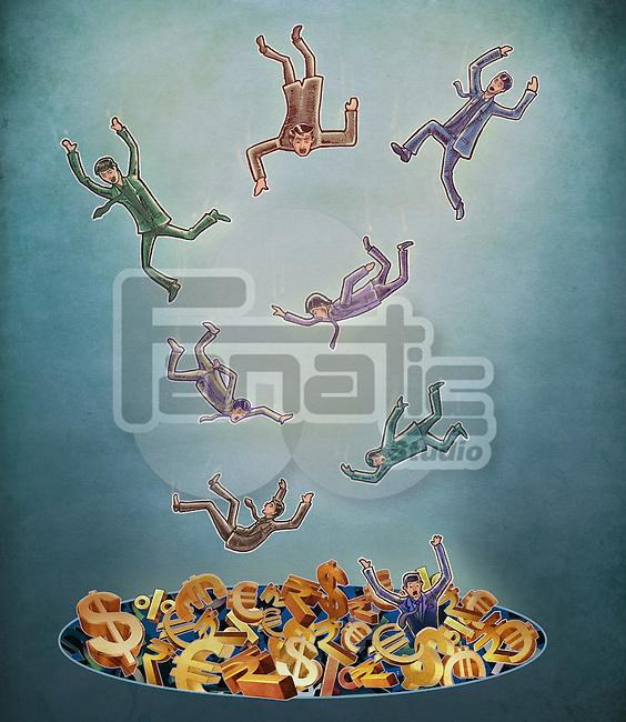 Illustrative image of businessmen falling in debt over colored background