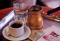 A cup of strong, black Arabic coffee..Amman, Jordan, The Middle East.