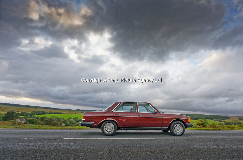 Pictured: The Mercedes W123 300 Turbo Diesel on the A4059 road near Penderyn, Wales, UK. Friday 30 August 2019<br /> Re: A classic Mercedes W123 300 Turbo Diesel which has been sent over from Missouri in the USA to restorer Mark Cosovich in Swansea, Wales, UK.