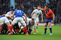 Mark Wilson of England prepares to pounce on Antoine Dupont of France during the Guinness Six Nations match between England and France at Twickenham Stadium on Sunday 10th February 2019 (Photo by Rob Munro/Stewart Communications)