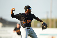 West Virginia Black Bears third baseman Ke'Bryan Hayes (3) throws to first during a game against the Batavia Muckdogs on August 30, 2015 at Dwyer Stadium in Batavia, New York.  Batavia defeated West Virginia 8-5.  (Mike Janes/Four Seam Images)
