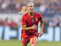 CHARLOTTE, NC - OCTOBER 3: Julie Ertz #8 of the United States looks for an airborne ball during a game between Korea Republic and USWNT at Bank of America Stadium on October 3, 2019 in Charlotte, North Carolina.