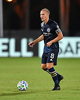 LAKE BUENA VISTA, FL - AUGUST 01: Alexander Ring #8 of New York City FC looks for options with the ball during a game between Portland Timbers and New York City FC at ESPN Wide World of Sports on August 01, 2020 in Lake Buena Vista, Florida.