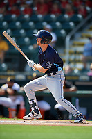 Charlotte Stone Crabs Tanner Dodson (10) at bat during a Florida State League game against the Bradenton Marauders on April 10, 2019 at LECOM Park in Bradenton, Florida.  Bradenton defeated Charlotte 2-1.  (Mike Janes/Four Seam Images)