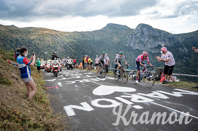 race leaders up the Puy Mary (uphill finish): Daniel Felipe Martínez (COL/EF),  Lennard Kämna (DEU/Bora-Hansgrohe) & Maximilian Schachmann (DEU/Bora-Hansgrohe)<br /> <br /> <br /> Stage 13 from Châtel-Guyon to Pas de Peyrol (Le Puy Mary) (192km)<br /> <br /> 107th Tour de France 2020 (2.UWT)<br /> (the 'postponed edition' held in september)<br /> <br /> ©kramon