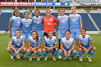 Chicago, IL - Saturday July 30, 2016: Chicago Red Stars Starting XI prior to a regular season National Women's Soccer League (NWSL) match between the Chicago Red Stars and FC Kansas City at Toyota Park.
