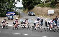 Tadej Pogačar (SVN/UAE-Emirates) riding around in the white jersey as the best young rider<br /> <br /> Stage 2 from Perros-Guirec to Mûr-de-Bretagne, Guerlédan (184km)<br /> 108th Tour de France 2021 (2.UWT)<br /> <br /> ©kramon