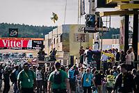 Geraint Thomas (GBR/SKY) sending the podium flowers flying...<br /> <br /> Stage 14: Saint-Paul-Trois-Châteaux > Mende (187km)<br /> <br /> 105th Tour de France 2018<br /> ©kramon